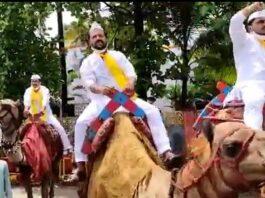 ರಮೇಶ್ ಜಾರಕಿಹೊಳಿಗೆ ಸಚಿವ ಸ್ಥಾನ ನೀಡಿ ಎಂದು 'ಒಂಟೆ ಸವಾರಿ' ಮಾಡಿ ಪ್ರತಿಭಟನೆ | Naanu gauri
